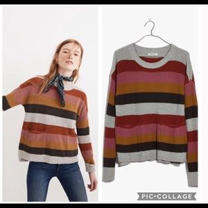 Madewell Patch Pocket Pullover Sweater in Stripe